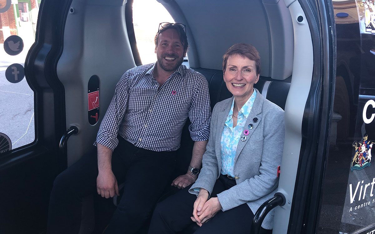Helen Sharman OBE in the Westfield POD